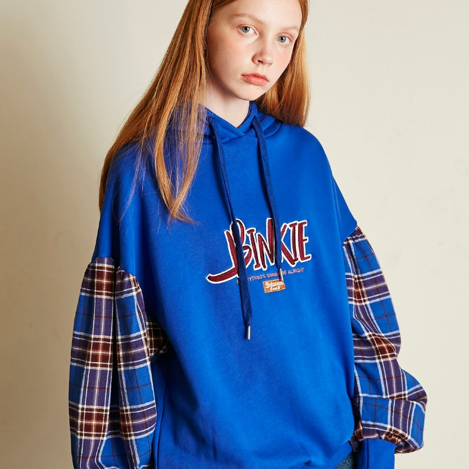 CHECK SLEEVE HOODY [BLUE]