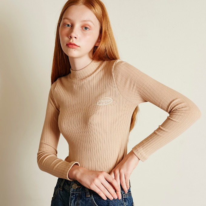 SMALL LOGO KNIT TOP [BEIGE]