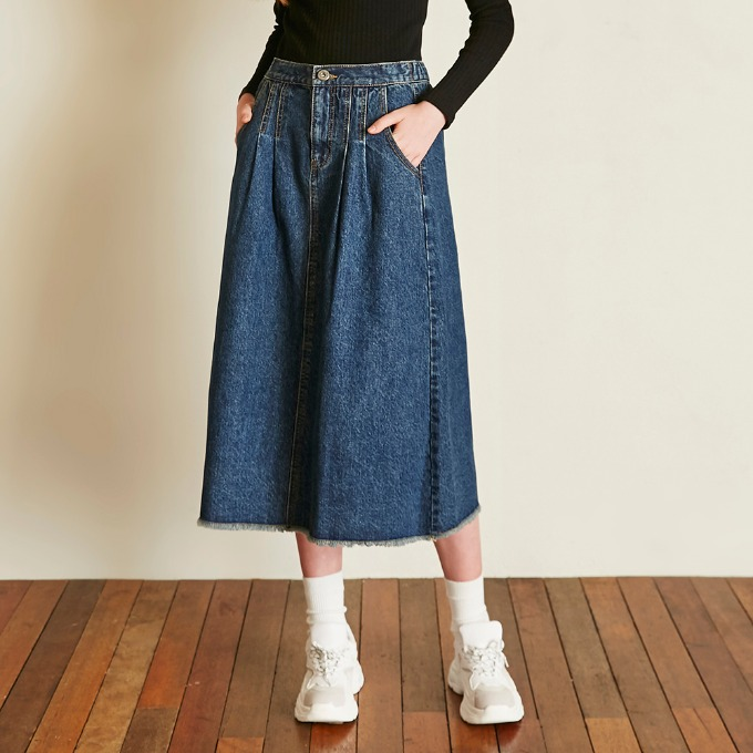 BANDING DENIM SKIRT [DARK BLUE]